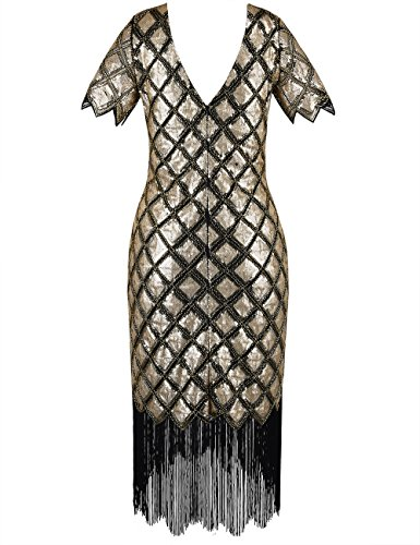 PrettyGuide Damen 1920er Kleid Voller Pailletten Deco Cocktail Flapper Kleid mit Ärmel Gold
