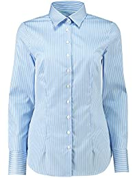 4a3fec2d5f HAWES   CURTIS Womens Executive Blue   White Bengal Stripe Fitted Shirt - 2  Ply 100s