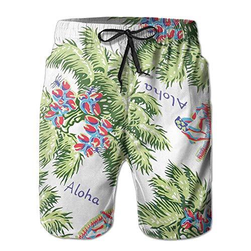 Cherokee Floral Uniform (AW Men's Lightweight Quick Dry Beach Shorts Summer Hawaii Style Swim Trunks X-Large)