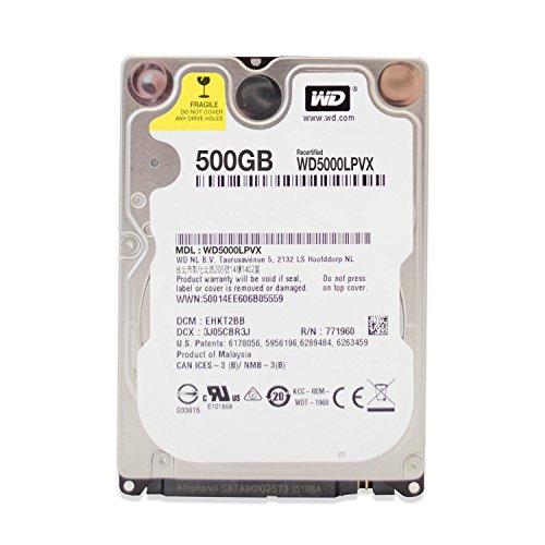 WD Blue mobile interne Festplatte 6,4 cm (2,5 Zoll), 5400rpm, 8MB Cache, Erweiterung für Laptop, Stromsparend - recertified, Kapazität:500GB
