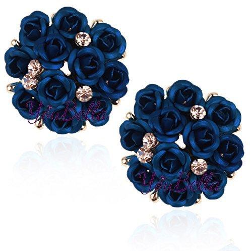 YouBella Stylish Party Wear Jewellery Gold Plated Studs Earrings for Women (Dark Blue)(YBEAR_31771)