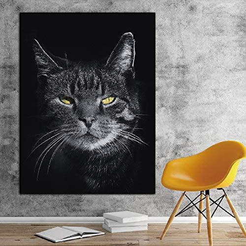 RTCKF Mode Kunst Leinwand Malerei Moderne minimalistische Katze Tier Poster HD drucken Wandkunst Bild (kein Rahmen) A5 60x90cm