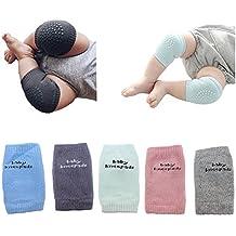 BOMPOW 5 pares de rodilleras para bebés Calcetines de rodilla de arrastre Protector de rodillera antideslizante