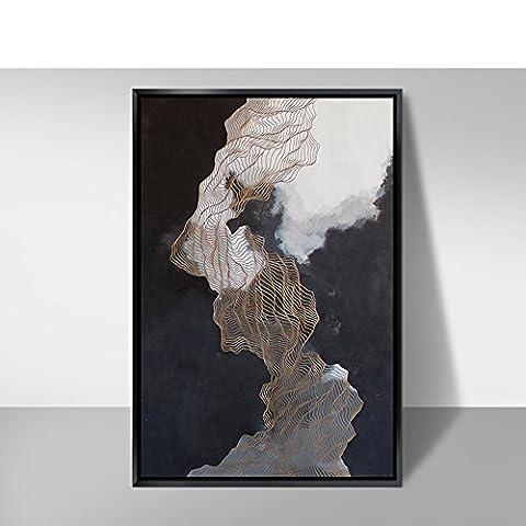 Peinture triple abstraite/fraîches/style chinois,peintures porche/peinture de décoration du salon-B 130x190cm(51x75inch)