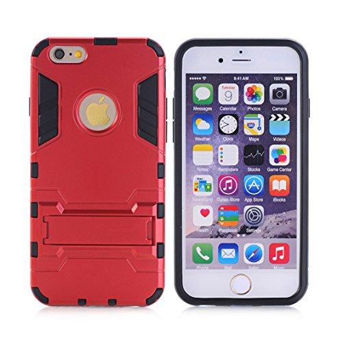 Custodia iPhone 6S Plus,iPhone 6 Plus copertura,[Heavy Duty]Corpo duro protettivo Armour Duro Layer ibrido PC + TPU con armadio [Shockproof] Case cover per iPhone 6S Plus /6 Plus,rosso rosso
