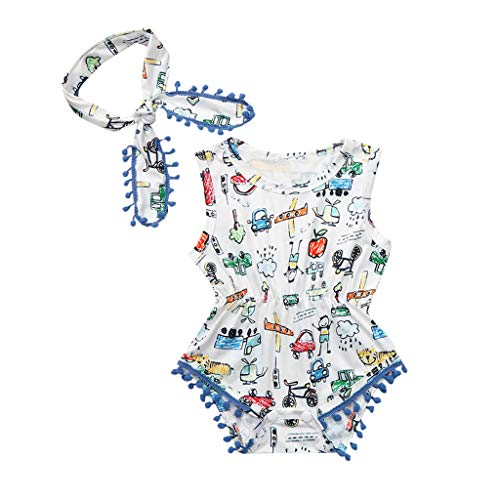 Staresen Strand Overall Bedrucktes Kleid Schwimmanzug Baby Badeanzug Kleinkinder Baby Ärmelloser Bikini Bedruckte Troddelweste Siamesischer Strampler + ()