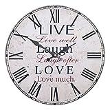 Vevendo Wanduhr - Live Laugh Love - Holz Küchenuhr mit großem Ziffernblatt aus MDF, Retro Uhr im angesagtem Shabby Chic Design mit leisem Quarz-Uhrwerk, Ø: 32 cm