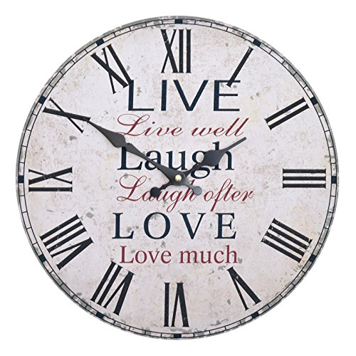 Wanduhr - Live Laugh Love - Holz Küchenuhr mit großem Ziffernblatt aus MDF, Retro Uhr im angesagtem Shabby Chic Design mit leisem Quarz-Uhrwerk, Ø: 32 cm