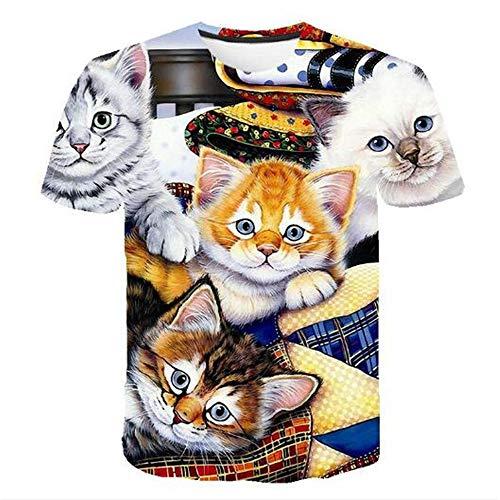 3D Print Weste Herren Tank Top Fitness Ärmelloses Shirt Herren Bekleidung Sportswear Unterhemd Sommer,Cartoon gedruckt Katze C Farbe M -