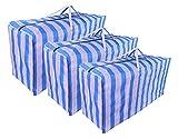 Maplelon Extra große Umzugsbeutel, blau gestreift, Jumbo-Aufbewahrungstasche mit Reißverschluss, für Zuhause, Reisen, Einkaufen, Wäsche, Bettwäsche, Kissen, Bettdecken, Kleidung, 3 Stück