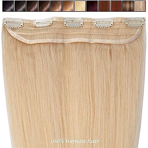 S-noilite® Extensions de cheveux humains à clips naturel #613 Blond très clair - 100% Remy hair - UNE PIECE / 5 CLIPS - 45cm-50g