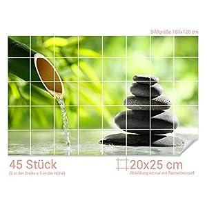 GRAZDesign Fliesenaufkleber Steine - Bambus für Kacheln Bad-Fliesen mit Fliesenbildern überkleben (Fliesenmaß: 20x25cm (BxH)//Bild: 180x120cm (BxH))