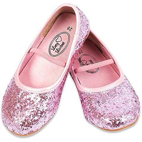 Lucy Locket - Scarpe Ballerine Bambina Bimba Glitter, Argento (missura