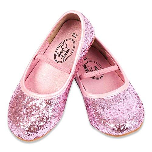 Glitzernde Ballerinas Pink Gr 34 - Ballettschläppchen Mädchen - Ballettschuhe Mädchen 34 - Lucy Locket (Schuhe Rosa Mädchen Kleid)