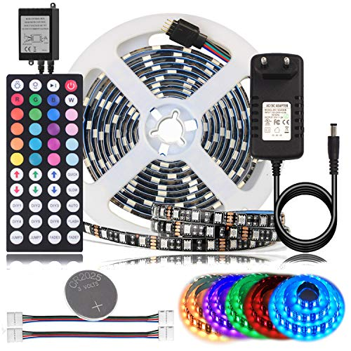 BIHRTC RGB LED Streifen Strip Set Kit 5050 SMD 2M 6.56ft 120 LEDs Band Licht Lichtband Lichtstreifen Wasserdicht IP65 Flexibles Beleuchtung in Schwarz PCB mit 44 Tasten Fernbedienung und 12V Netzteil -