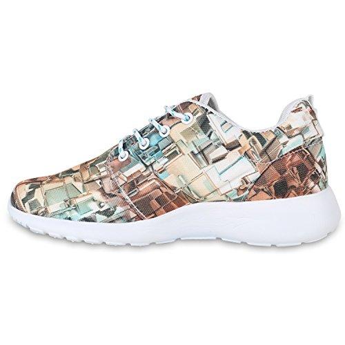 Damen Sportschuhe Muster |Laufschuhe Runners | Sneakers Schuhe Strass Metallic Dunkelgrün Braun
