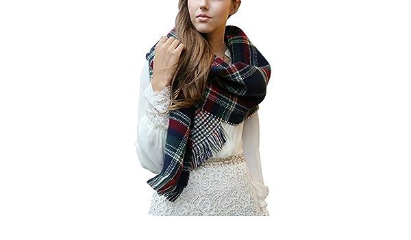 8bc41c1c74c0 Yidarton Grosse Écharpe Plaid Femme Hiver Chaud Cachemire Tissu Glands  Foulard Chale (Bleu Foncé)  Amazon.fr  Vêtements et accessoires