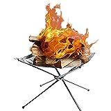 OUTDOT Legna da ardere pieghevole Lega per bruciare bruciare fornace Grill in acciaio inox Camino Fire Pit all'aperto con Carry Bag, 42 * 42 * 32 cm
