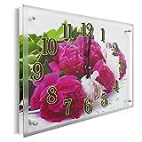 YS-Art Design Glas Foto Wanduhr | 30x40 cm | Lautlose Geräuscharme Moderne Wand Glasuhr mit Motiv und Einer Edlen Verglasung | für Wohnzimmer, Gästezimmer, Schlafzimmer, Küche, Büro (PB010)