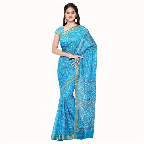 Rajnandini Women's Bandhani Printed Kota Silk Cotton Saree(JOPLSRS1053C_Sky Blue_Free Size)