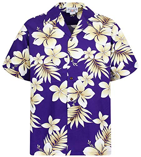 P.L.A. Pacific Legend Original Hawaiihemd, Kurzarm, Goldblume, Violett, 3XL (70's Disco Kostüm Plus Größe)
