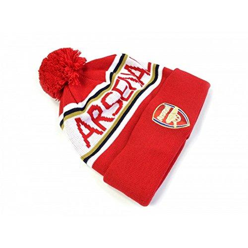 Arsenal FC Unisex Bommel-Mütze (Einheitsgröße) (Rot/Weiß) - Arsenal-fußball-hut Fc