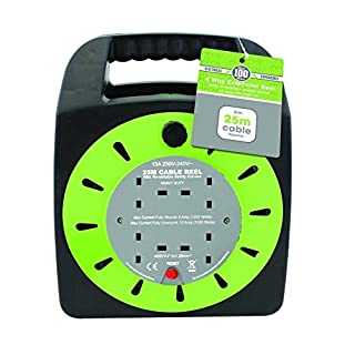 Invero® 4 Way Mains Socket with 25M Metre Extension Lead Reel Cable - Heavy Duty British Approved 13A ideal for Workshops Home Use DIY and more