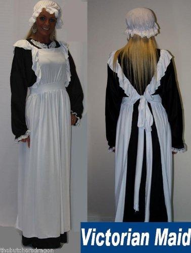 Viktorianisches Dienstmädchen Hat Latzschürze & Kleid Gr. 12–16Fancy Kleid Kostüm Traditionelle Edwardianischer ()