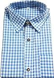 Trachtenhemd Trachten Langarm Karo Hemd blau und rot Gr S M L XL XXL 3XL 4XL, Fb.:hellblau;Kleidergr. Herren:3 XL