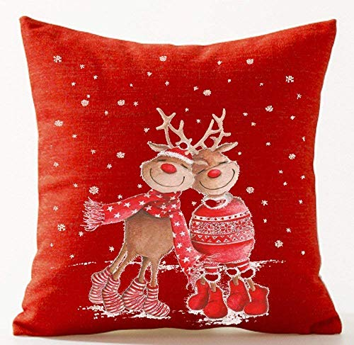 FPDecor Dekorativ Kissenbezug, Merry Christmas Snow on a red Background elk Bells Snowman Cotton Linen Throw Pillow Covers Case Cushion Cover Sofa Decorative Square18X18 inch