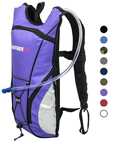 Adtrek - Trinkrucksack mit Wasserblase - Ideal zum Laufen/Radfahren - 2 Liter Lila