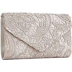 SYMALL Bolso de mano con encaje satén cartera de mano estilo elegante dulce bolso de fiesta para mujer, Beige