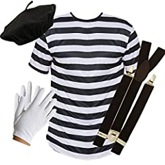 Idea Regalo - PU French Mime - Set da 4 Pezzi Composto da Top + Cintura + Bretelle + Guanti