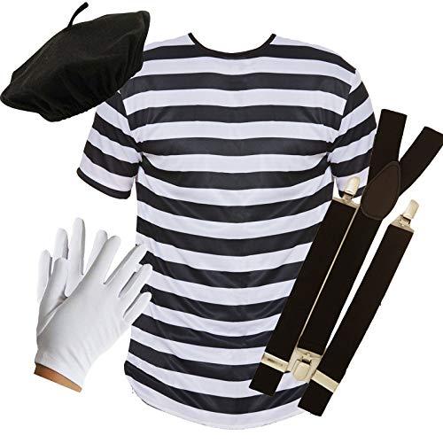 Erwachsene Für Mime Kostüm - PU French Mime Set aus Oberteil + Barett + Hosenträger + Handschuhen