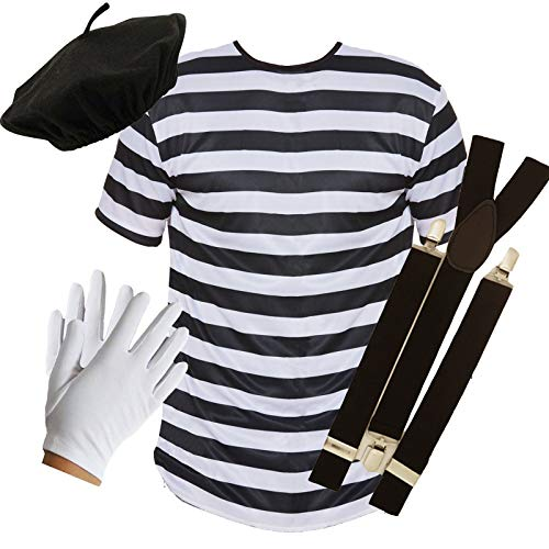 PU French Mime Set aus Oberteil + Barett + Hosenträger + Handschuhen (French Mime Kostüme)