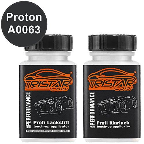 TRISTARcolor Autolack Lackstift Set für Proton A0063 Lenox Black Metallic Basislack Klarlack je 50ml Lenox Pearl