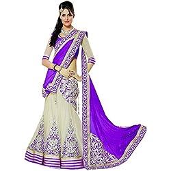 Janasya Women's Off White Lehanga Saree (JNE0862.Pur)