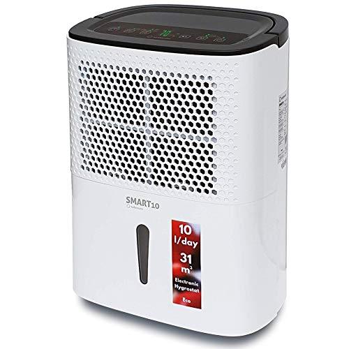 Turbionaire Smart 10 Eco Deumidificatore Portatile Estremamente Silenzioso Intelligente max 200 Watt 10L/ 24h per ambienti fino a 31 mc Filtro antipolvere Igrostato