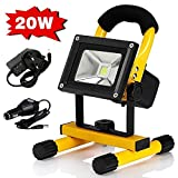 Noza Tec 20W Rechargeable LED Work Light, IP65 Waterproof Outdoor Spotlights, 12V Portable Daylight White Flood Light for Camping, Workshop, Job Site, Garages - Adapter and Car Charger Included
