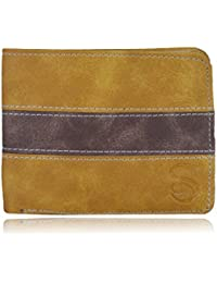 SkinOutfit Mens Leather Wallet Beige And Brown