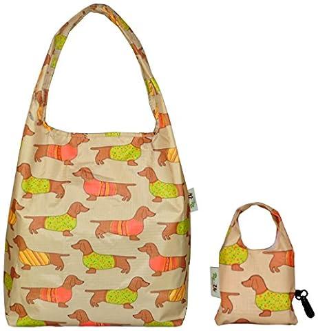 Re-Uz Trendy Folding Reusable Waterproof Carrier Shopper Supermarket Gym Swim Grocery Tote Bag - Sausage Dog Taupe