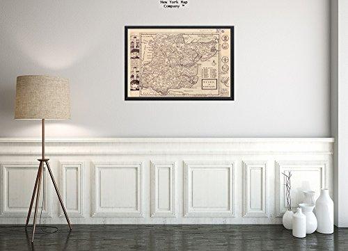 New York Map Company () 1724 Karte Großbritannien: Essex-Essex Relief abgebildet. Impressum von The Atlases (englischsprachig), historischer Vintage-Stil, Nachdruck, fertig zum Einrahmen