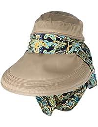 Femmes Soleil Face Chapeau de Protection Anti-UV Large Visière Bord Capuchon Pliable Kaki
