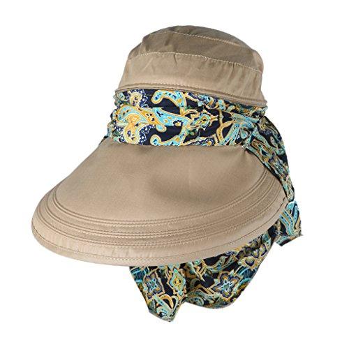 ZORBES® Phenovo Women Sun Hat Face Protective Anti-UV Wide Brim Visor Foldable Cap Khaki