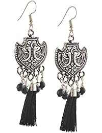 Zephyrr Earrings Hanging Hook German Silver Peacock With Thread Tassels