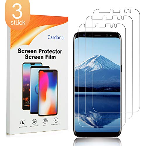 Cardana 3X Samsung Galaxy S8 Schutzfolie, Bildschirmschutzfolie[ Volle Abdeckung ][Einfache blasenfreie Installation] Panzerglasfolie, extrem langlebige Folie Transparent