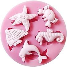 CLE DE TOUS - Molde de Silicona para Chocolate Tarta Fondant Decoración Cake arcilla jabón Forma con hoja del arce / vida marina / ángel (La vida marina)