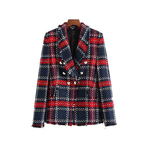 Availcx-Mujeres Plaid Tweed Blazer Bolsillos Fringe Tassel Botones de Abrigo de Manga Larga Mujer Ropa de Abrigo Casual Tops