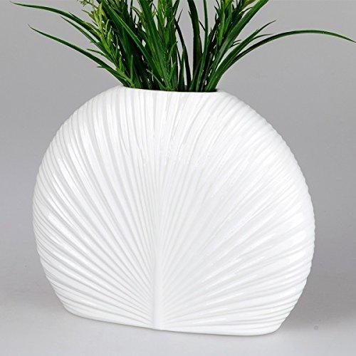 Formano Deko Vase Relief Oval, 34x27 cm, Weiß (Ovale Palmenblatt)