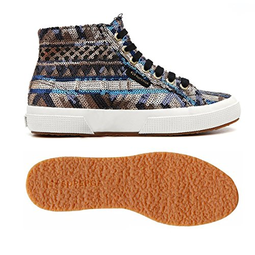 Superga 2795-Ethnicpaiw, Baskets Basses Mixte Adulte Black-Bronze-Blu